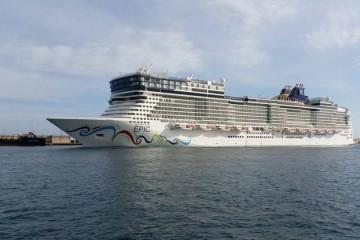 """El buque """"Norwegian Epic"""", atracado hoy en el puerto de Santa Cruz de Tenerife"""
