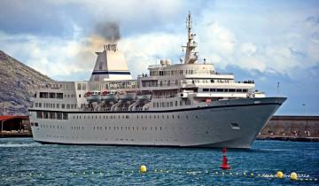 """El buque """"Aegean Odyssey"""", a su llegada a mediodía a La Palma"""