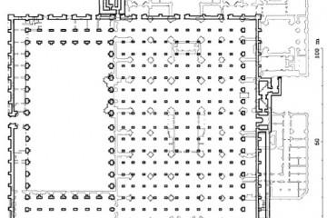 Planta almohade de la mezquita de Sevilla superpuesta a la planta de la Catedral