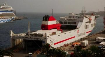 """El buque """"Forza"""", esta mañana, en su primera escala en Santa Cruz de La Palma"""
