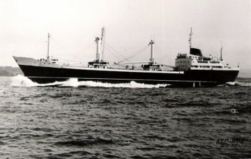 """Estampa marinera del buque """"Merced"""", de Compañía Trasatlántica Española"""