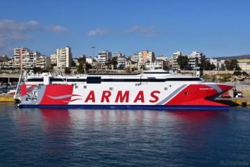 """El catamarán """"Volcán de Teno"""" ha sido reacondicionado en Grecia antes de venir a España"""