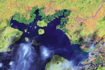 El golfo de Fonseca, a vista de satélite