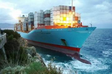 """Así permaneció unas horas el buque """"Gustav Maersk"""""""