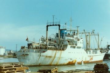 """El buque """"Isora"""", ex """"Lago San Mauricio"""", maniobra en el puerto de Livorno"""