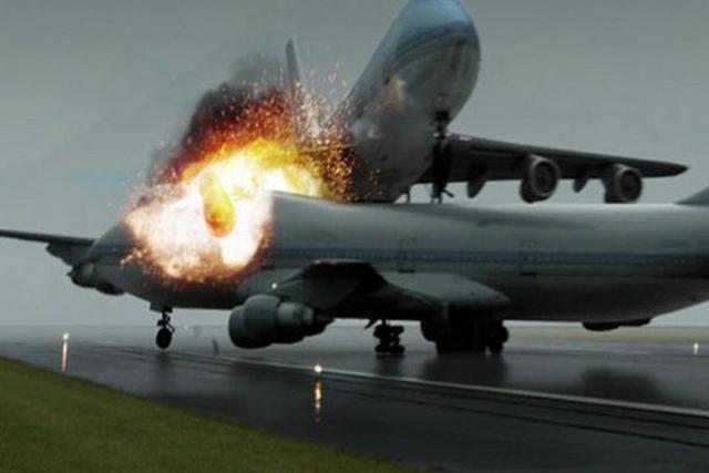 Recreación del momento del impacto entre los dos aviones Boeing B-747