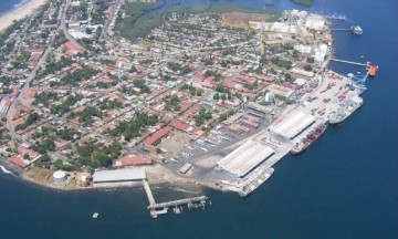 Panorámica aérea del puerto de Corinto (Nicaragua)
