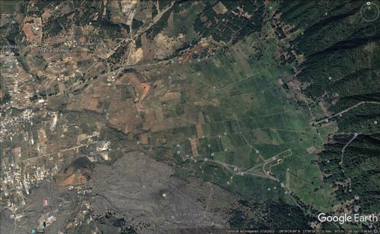 Imagen de Google Earth donde se aprecia la zona estudiada para el primer aeropuerto de La Palma