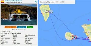 """Itinerario seguido anoche por el fast ferry """"Benchijigua Express"""""""