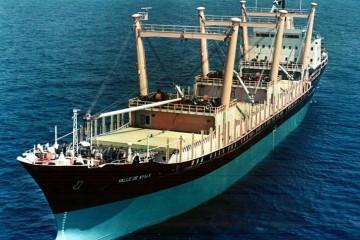 """Vista aérea del buque """"Valle de Ayala"""""""