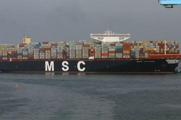 """El buque """"MSC Viviana"""", en toda su eslora visto por la banda de estribor"""