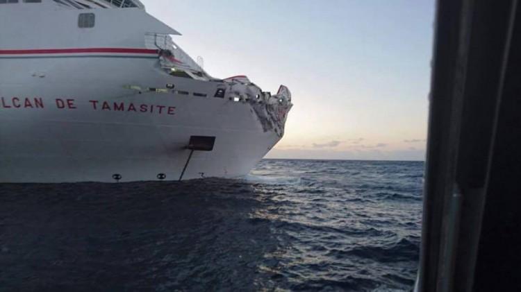 """Estado en el que ha quedado la proa del buque """"Volcán de Tamasite"""""""