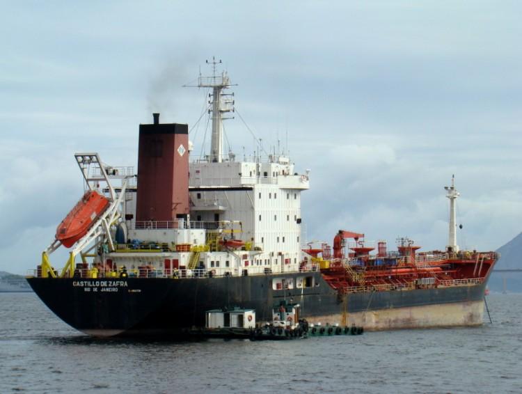 """Estampa marinera del buque """"Castillo de Zafra"""", fondeado en Salvador"""