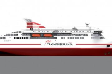 Este será el aspecto exterior del nuevo buque de Trasmediterránea