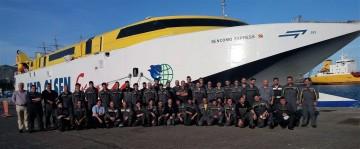 """Equipo de Fred. Olsen y Finanzauto que intervino en el overhaul del buque """"Bencomo Express"""""""