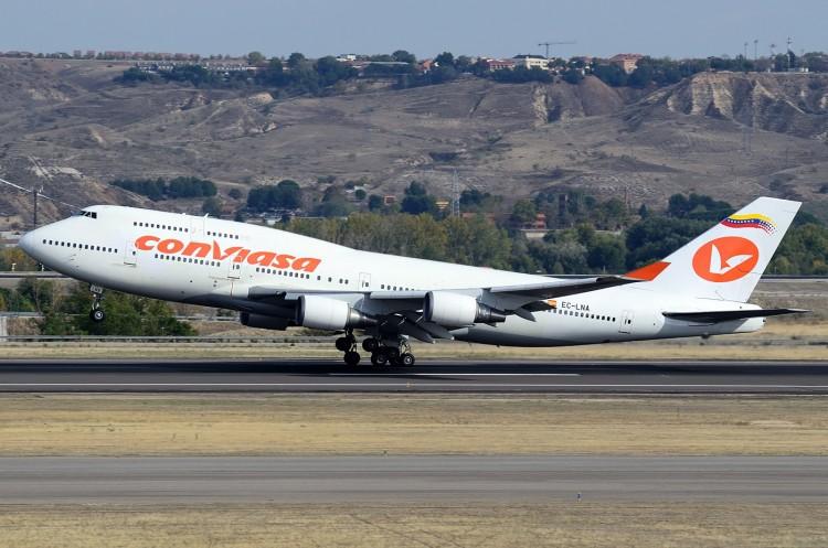 Wamos alquiló un avión B-747 a Conviasa, que ha sido retirado