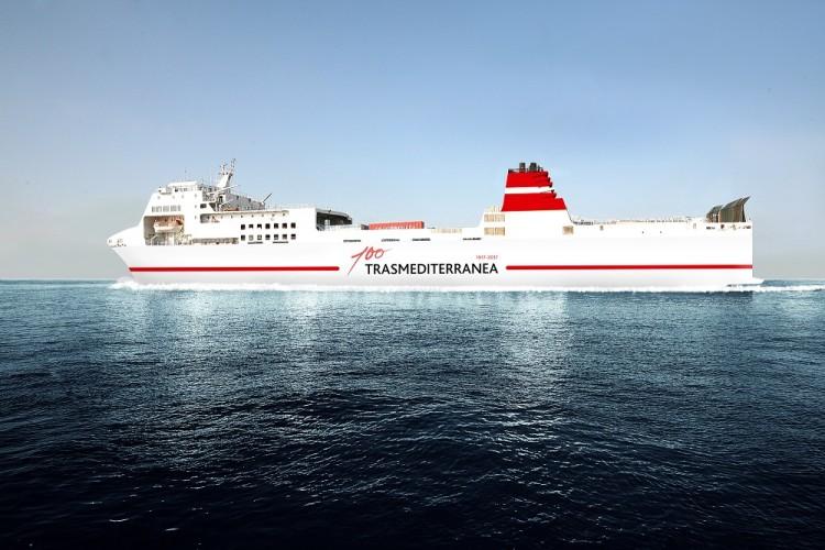 """Es el aspecto externo del buque """"Ciudad de Ibiza"""""""