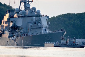 """Zona donde se produjo el impacto en el buque """"USS Fitzgerald"""""""