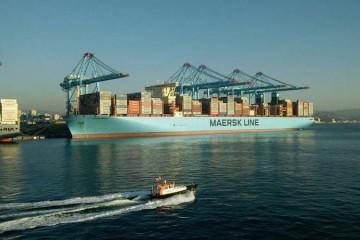 """El buque """"Madrid Maersk"""",  en la terminal APM de Algeciras"""
