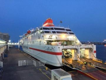 "El ferry ""Juan J. Sister"", anoche, en el puerto de Barcelona"