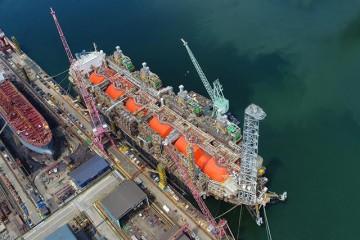 """Vista aérea del buque plataforma """"Hilli Episeyo"""""""