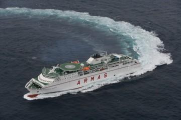"""El buque """"Volcán de Tijarafe"""", en sus pruebas de mar"""