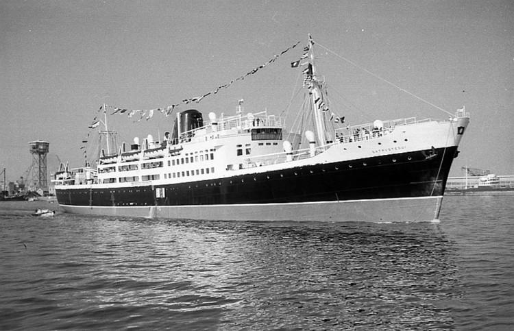 """Estampa marinera del buque """"Satrústegui"""", de Compañía Trasatlántica"""