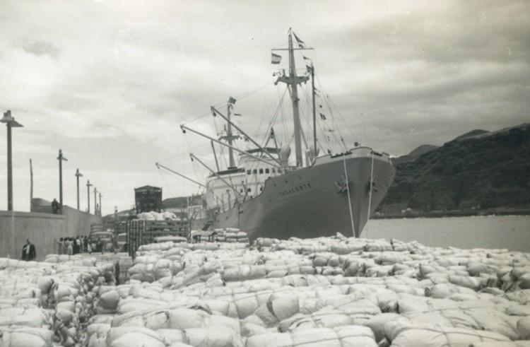 """El buque frutero alemán """"Tazacorte"""", atracado en el puerto de Santa Cruz de La Palma"""