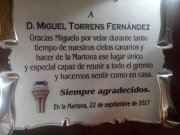 Contenido de la placa entregada a Miguelo Torrens Fernández