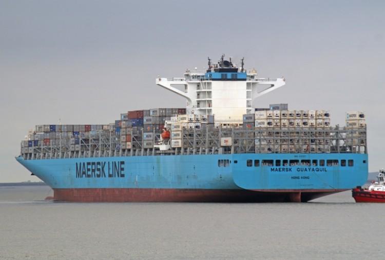"""Estampa marinera del buque """"Maersk Guayaquil"""", que mañana llegará a Santa Cruz de Tenerife"""
