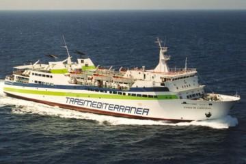 """El buque """"Ciudad de Algeciras"""", en aguas del Estrecho de Gibraltar"""