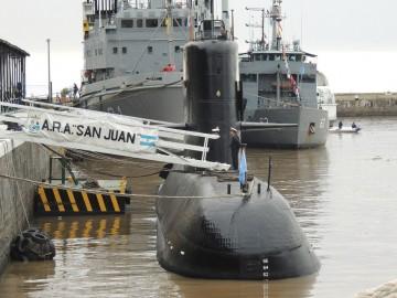 """El submarino """"ARA San Juan"""", en el apostadero naval de Buenos Aires"""