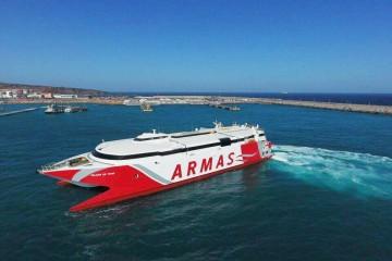 """El catamarán """"Volcán de Teno"""", a su llegada a Las Palmas"""