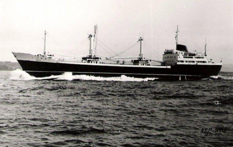 """Estampa marinera del buque """"Merced"""", de Compañía Trasatlántica"""