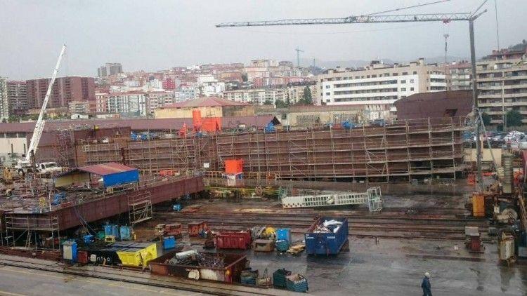 Estado de construcción del nuevo buque en diciembre de 2017