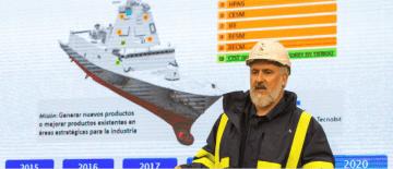El presidente de Navantia, Esteban García Vilasánchez, en la presentación del programa F-110
