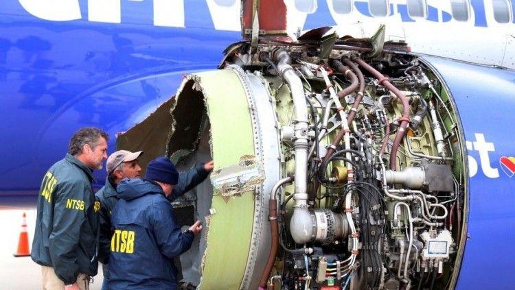 Estado en el que quedó el motor del avión B-737 de Southwest Airlines