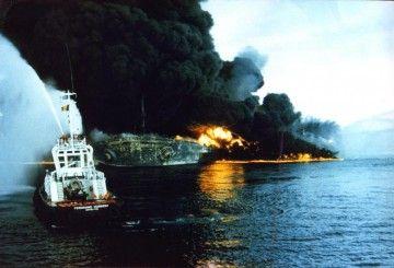"""Situación del buque nodriza """"Seawise Giant"""", el 14 de mayo de 1988"""