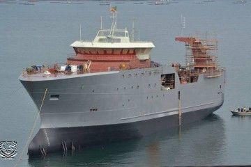 """El buque """"Regina C"""", tras su puesta a flote"""