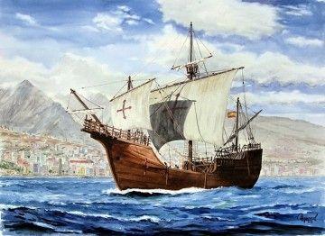 """Esta es la magnífica acuarela de la nao """"Santa María"""" y Santa Cruz de La Palma"""