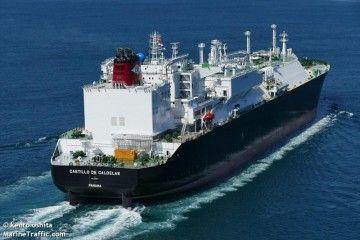 """El buque metanero """"Castillo de Caldelas"""", durante sus pruebas de mar"""