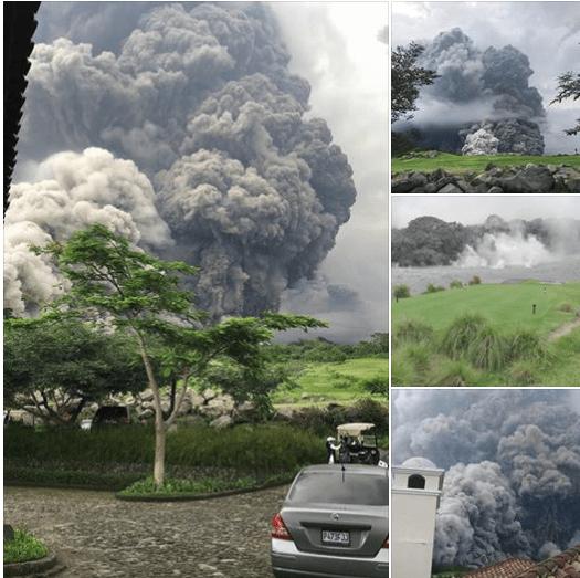 Varios momentos, ayer, de la erupción del volcán de Fuego
