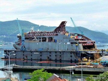 """El buque """"Villa de Teror"""" se encuentra en el dique flotante de Metalships"""