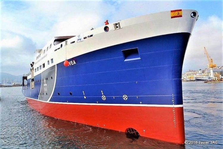 """El buque """"Svea"""", en el momento de su puesta a flote"""