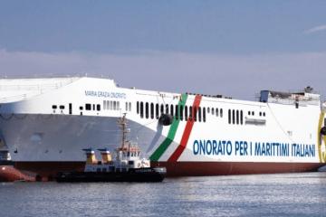 """El buque """"María Grazia Onorato"""", tras su puesta a flote"""