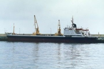 """El buque """"SAC Huelva"""", atracado en el puerto de Santa Cruz de Tenerife"""