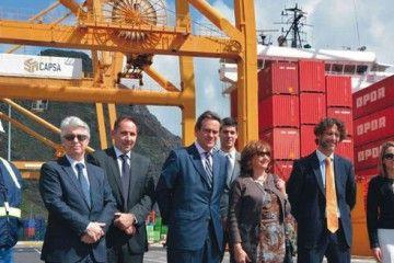 Leandro Melgar, segundo por la derecha, en su etapa en el puerto de Santa Cruz de Tenerife