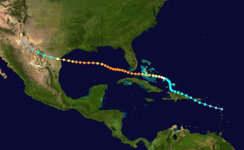 Trayectoria seguida por el huracán de septiembre de 1919