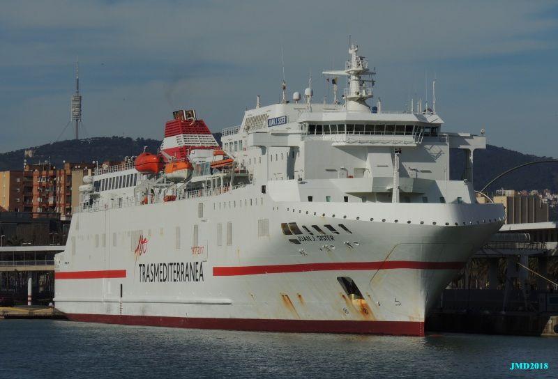 """A sus 25 años, el ferry """"Juan J. Sister"""" sigue siendo uno de los mejores barcos de Trasmediterránea"""