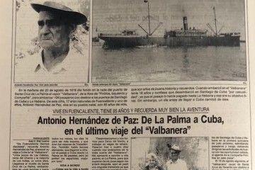 """Entrevista a Antonio Hernández de Paz, pasajero del último viaje del trasatlántico """"Valbanera"""""""